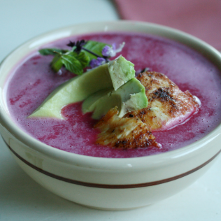 Chilled Beet Soup with Avocado