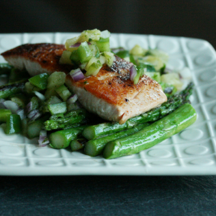 Pan Seared Salmon with Pineapple Cilantro Salsa
